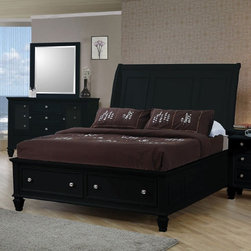 Coaster - Sandy Beach California King Size Bed - This storage bed collection is crafted with tropical hardwoods in a black finish. Case pieces feature multiple drawers for plenty of storage. The group's clean and straight lines along with its rich black finish is sure to spice up any bedroom.