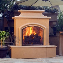 American Fyre Designs Mariposa Outdoor Fireplace - Upscale Southwestern design lives in the American Fyre Designs Mariposa Outdoor Fireplace. A handsome way to add warmth and style to your outdoor living space, this fireplace is a well-designed beauty. It's crafted of lightweight yet durable fiberglass reinforced concrete for outdoor use in any climate. Your fireplace comes in a handsome Cafe Blanco finish to match any landscape and is a snap to assemble. The kit includes a bull nose hearth, arched and molded body, deeply molded chimney, crisscross brick firebox, and deluxe 24-inch charred oak log. Available in your choice of fuel source (natural gas or liquid propane). To assemble simply stack and bolt the fireplace together in your backyard or on an existing concrete pad.Note: Review any building restrictions or construction permit requirements before installation of an outdoor fireplace. Contact your local zoning commission/homeowners association for details. Contact a licensed contractor for installation as this product may require connection to a natural gas line.About American Fyre DesignsR. H. Peterson Company, a premium gas product manufacturer, launched American Fyre Designs in 2013. This complete line of uniquely designed and handcrafted exterior fire features are meant to meet the growing demand for outdoor living products. Pre-fabricated exterior fireplaces, fire tables, urns, pits, walls and BBQ islands make up this unique line and each item is constructed of durable, lightweight glass fiber reinforced concrete. Everything in the American Fyre Designs line is made in the USA and follows strict quality standards using advanced technology.