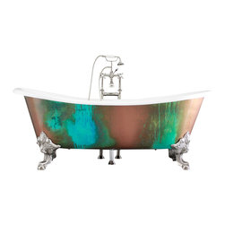 "Penhaglion - 'The Lanercost' 73"" Cast Iron Slight Slipper Bateau Tub Package from Penhaglion - Stunningly shapely and oh-so-chic, this freestanding bathtub with clawed feet is beautiful enough to be a showstopper beyond simply the bathroom: Imagine it in your master bedroom, or in the garden, surrounded with plants. This gorgeous freestanding bathtub features a green and blue verdigris metallic copper coated exterior and a smooth cast iron enamel interior."