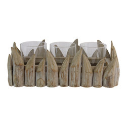 Selectives - 12-Inch Long Barnabe Wooden Candleholder - Beyond fantastic! One of a kind wood design. The quality, size and finish is out of this world.  This is perfect to set the scene for an evening gathering or for those summer outdoor dinners.