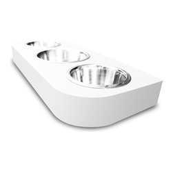 Pet Lounge Studios - Bambu 3 Bowl dinner, White Wood - The Bambú 3 Bowl Diner. It is created with solid bamboo, water resistant finish which will not stain, 3 high quality stainless steel bowls and topped off with a polished stainless steel label representing the Pet Lounge Studios Brand. This is the perfect diner for a home with multiple pets or just a finicky eater.