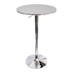 "LUMISOURCE - Lumisource Bistro Bar Table, Silver Swirl - A decorative swirl pattern on an aluminum top makes the Bistro Bar Table perfect for multiple uses. A hydraulic lever allows the table top height to adjust from 26"" to 41"". With the adjustable chrome base you have a table perfect for smaller kitchens, dining areas or any bar. The new and improved Bistro tables now feature tool-less assembly. Add it to your rec room, dining room, party, extra breakfast nook Also seen on pages 11, 16 and 32."