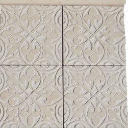 "New designs - Honed Crema Marfil Marble decorative tile, 6""x6"". Medieval design"