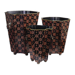 AA Importing - Floral Print Painted Metal Planter Set in Bla - A classic floral pattern highlights this set of three metal planters, an ideal way to showcase your favorite flowers and plants. The planters are hand painted in black and red finish and feature ring style handles. The set includes planters in three different sizes. Set of 3. Painted metal. Set includes small, medium and large planters. Small: 7.25 in. L x 7 in. W x 9.25 in. H. Medium: 8.25 in. L x 8 in. W x 10.5 in. H. Large: 9.5 in. L x 8.75 in. W x 12.5 in. H