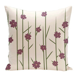 e by design - Floral Branches Purple 18-Inch Cotton Decorative Pillow - - Decorate and personalize your home with coastal cotton pillows that embody color and style from e by design  - Fill Material: Synthetic down  - Closure: Concealed Zipper  - Care Instructions: Spot clean recommended  - Made in USA e by design - CPO-NR4-Branches_Flowers_Plum-18