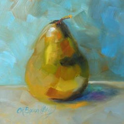 Lonely Pear by Chris Brandley (Original) by Chris Brandley - Pears have so much character! So fun to paint.