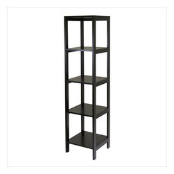 Winsome - Winsome Hailey 5-Tier Modular Tower Shelf in Dark Espresso Finish - Winsome - Bookcases - 92615 - Hailey line of modular entertainment and storage/display furniture is designed to stand alone or be paired with other pieces to create and entertainment set.