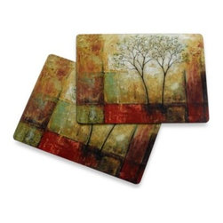 Avanti - Avanti Morning Luster Cork Back Placemats (Set of 2) - These high quality, cork backed placemats protect your table while adding an artistic element to all of your meals. Placemats are durable, long-lasting and stain-resistant.