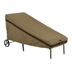 Classic Accessories Hickory Chaise Cover - Tan - The Classic Accessories Hickory Chaise Cover - Tan is a handsome and handy way to protect your chaise lounger this winter. It's made of tan Weather10 material with Weather Leather trim that looks real yet won't rot. Padded handles make it a breeze to put on and take off. Large air vents prevent mildew and wind lofting. For a secure and customized fit, it uses a combination of click-close straps and an adjustable elastic hem cord at the bottom. This cover has a waterproof, laminated liner and fits most chaise loungers. Includes a manufacturer's limited lifetime warranty.About Classic AccessoriesFounded from small beginnings, Classic Accessories has grown in the past 30 years from a small basement operation in Seattle's Roosevelt neighborhood making seatbelt pads and steering wheel covers, to a successful and expanding company now making a wide variety of products from car to boat covers and much more. Innovative, stylish designs define products that are functional and made to last. From little details to the largest innovations, Classic Accessories is always moving forward and looking to provide cover and storage solutions to a clientele that has a passion for the outdoors, from backyard gatherings to exciting camping trips, Classic Accessories provides the products that keeps your equipment looking great all season long.