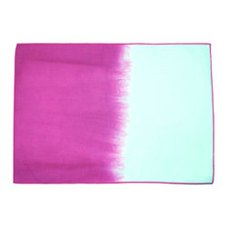 Calyz - Pink Ombre Placemats, Set of 4 - These placemats are handmade and hand-dyed by women artisans in India. The cotton and linen fabric is high-quality and easy to clean, and the stunning magenta-and-white ombre effect and stitching detail are sure to bring extra style and excitement to your dining room table. Match them with our Pink Ombre Napkins for a complete dining room set. 65% LINEN/35% COTTON