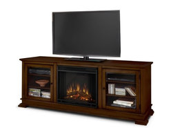 "Real Flame - Hudson 68"" TV Stand with Electric Fireplace - Enjoy the beauty of a Real Flame fireplace, this unique freestanding fireplace also doubles as an entertainment center. Features include a center panel that flips down to reveal a hidden compartment that houses media components and glass doors on each side open to reveal additional storage. The Vivid Flame Electric Firebox plugs into any standard outlet for convenient set up. The features include remote control, programmable thermostat, timer function, brightness settings and ultra bright Vivid Flame LED technology. Features: -Fireplace includes mantel, firebox, remote control, and screen.-Distressed: No.-Recommended TV Type: Flat screen.-Powder Coated Finish: No.-Gloss Finish: Yes.-Material: Solid wood and veneered MDF construction.-Number of Items Included: 1.-Solid Wood Construction: No.-Exterior Shelves: No .-Drawers: No .-Cabinets: No.-Scratch Resistant : No.-Removable Back Panel: No.-Hardware Finish: Stainless steel hardware.-Casters: No .-Accommodates Fireplace: Yes.-Fireplace Included: Yes -Fireplace Type: Electric.-Firebox Construction: Powder-coated stainless steel.-Functional Fireplace: Yes.-Optional Fireplace Heat: Yes.-BTU Output: 4700 BTUs.-Wattage Output: 1400 W.-Power Requirement: 120V-60 Hz.-Ampere Requirement: 11.7 amp.-Electric Flame Type: Fireplace insert has LED display.-Space Heating Capacity: Heats up to 100 square feet.-Adjustable Temperature: Yes.-Adjustable Flame: Yes.-Flickering Flame Effect: Yes.-Thermal Overload Protection: Yes.-Timer Function: Yes.-Heat Proof Glass: Yes..-Lighted: No .-Media Player Storage: Yes.-Media Storage: No .-Cable Management: Product has a hole for wire management..-Remote Control Included: Yes.-Batteries Required: Yes -Battery Type: 1 CR2025 lithium battery required.-Batteries Included: Yes..-Weight Capacity: 100 lbs.-Swatch Available: No.-Commercial Use: Yes.-Collection: Hudson.-Eco-Friendly: No.-Recycled Content: No .-Lift Mechanism: No.-Expandable: No.-TV Swivel Base: No.-Integrated Flat Screen Mount: No.-Hardware Material: Stainless steel.-Non-Toxic: Yes.-Product Care: Dust with dry cloth.Specifications: -1400 W heater, rated over 4,700 BTUs per hour.-ISTA 3A Certified: No.-CARB 2 Certified: Yes.-CARB Certified: Yes.-FSC Certified: No.-CSA Certified: No.-EPP Certified: No.Dimensions: -Overall Product Weight: 151 lbs.-Overall Height - Top to Bottom: 26.5"".-Overall Width - Side to Side: 67.75"".-Overall Depth - Front to Back: 20"".-Drawer: .-Shelving: -Shelf Width - Side to Side: 18.75"".-Shelf Depth - Front to Back: 16.75""..-Cabinet: .-Legs: -Leg Height - Top to Bottom: 1.5"".-Leg Width - Side to Side: 5"".-Leg Depth - Front to Back: 5""..Assembly: -Assembly Required: Yes.-Tools Needed: Phillips screwdriver.-Additional Parts Required: No .Warranty: -Product Warranty: 90 day warranty on mantel, 1 year warranty on electric firebox.."