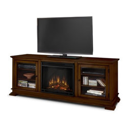 """Real Flame - Hudson 68"""" TV Stand with Electric Fireplace - Enjoy the beauty of a Real Flame fireplace, this unique freestanding fireplace also doubles as an entertainment center. Features include a center panel that flips down to reveal a hidden compartment that houses media components and glass doors on each side open to reveal additional storage. The Vivid Flame Electric Firebox plugs into any standard outlet for convenient set up. The features include remote control, programmable thermostat, timer function, brightness settings and ultra bright Vivid Flame LED technology. Features: -Fireplace includes mantel, firebox, remote control, and screen.-Distressed: No.-Recommended TV Type: Flat screen.-Powder Coated Finish: No.-Gloss Finish: Yes.-Material: Solid wood and veneered MDF construction.-Number of Items Included: 1.-Solid Wood Construction: No.-Exterior Shelves: No .-Drawers: No .-Cabinets: No.-Scratch Resistant : No.-Removable Back Panel: No.-Hardware Finish: Stainless steel hardware.-Casters: No .-Accommodates Fireplace: Yes.-Fireplace Included: Yes -Fireplace Type: Electric.-Firebox Construction: Powder-coated stainless steel.-Functional Fireplace: Yes.-Optional Fireplace Heat: Yes.-BTU Output: 4700 BTUs.-Wattage Output: 1400 W.-Power Requirement: 120V-60 Hz.-Ampere Requirement: 11.7 amp.-Electric Flame Type: Fireplace insert has LED display.-Space Heating Capacity: Heats up to 100 square feet.-Adjustable Temperature: Yes.-Adjustable Flame: Yes.-Flickering Flame Effect: Yes.-Thermal Overload Protection: Yes.-Timer Function: Yes.-Heat Proof Glass: Yes..-Lighted: No .-Media Player Storage: Yes.-Media Storage: No .-Cable Management: Product has a hole for wire management..-Remote Control Included: Yes.-Batteries Required: Yes -Battery Type: 1 CR2025 lithium battery required.-Batteries Included: Yes..-Weight Capacity: 100 lbs.-Swatch Available: No.-Commercial Use: Yes.-Collection: Hudson.-Eco-Friendly: No.-Recycled Content: No .-Lift Mechanism: No.-Expandable: No"""
