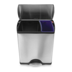 Simplehuman - simplehuman Deluxe Rectangular Recycler Can - This fingerprint-proof, deluxe edition, rectangular recycler has two color-coded inner buckets (a blue 16-liter and a black 30-liter) to separate trash and recyclables.