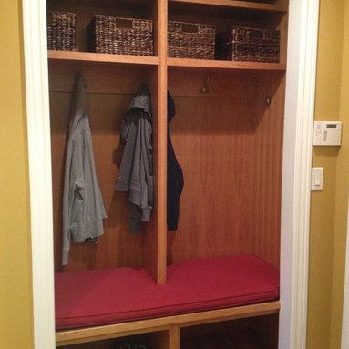 Locker Cushion - One-piece cushion in divided laundry area locker.  Photo by Kim