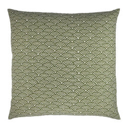 "NECTARmodern - Woodblock (olive) scales arches graphic throw pillow 20"" x 20"" - Inspired by a traditional hand printed motif. Olive green and white arches. Design is printed on both the front and back. Designer quality cover with overstuffed feather/down insert."