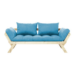 Fresh Futon - Fresh Futon Bebop Convertible Futon Sofa/Bed, Natural Frame, Horizon Blue Mattre - Bebop will have you feeling energized after a rest, like a fast tempo melody on the dance floor. Sit back and relax in one of three positions, loveseat sofa, mattress, and daybed. Available in natural and black frames with 9 twill fabric color options.