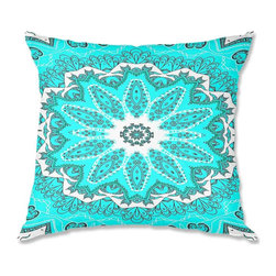 DiaNoche Designs - Pillow Woven Poplin by Monika Strigel Fairy Dream Mandala Fresh Mint - Toss this decorative pillow on any bed, sofa or chair, and add personality to your chic and stylish decor. Lay your head against your new art and relax! Made of woven Poly-Poplin.  Includes a cushy supportive pillow insert, zipped inside. Dye Sublimation printing adheres the ink to the material for long life and durability. Double Sided Print, Machine Washable, Product may vary slightly from image.