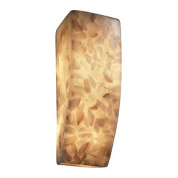 Justice Design Group - Alabaster Vertical Wall Sconce Light - ALR-5135 - Contemporary / modern 1-light sconce. Takes (1) 60-watt incandescent T10 bulb(s). Bulb(s) sold separately. Damp location rated.