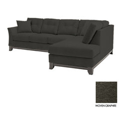 Apt2B - Marco 2PC Sectional Sofa, Woven Graphite, Chaise on Left - Make yourself comfortable on the Marco Collection. Tufted buttons on the back cushions, and a wood base stained in a rich, espresso finish give it a modern look.