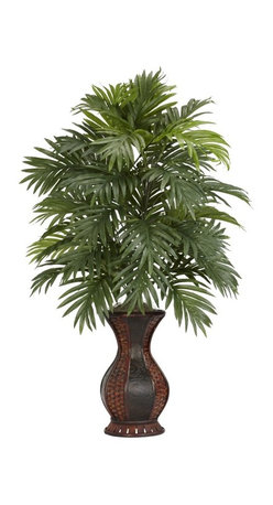 Areca Palm with Urn Silk Plant - This is a floral display that definitely calls attention to itself. Standing at an impressive 37 tall, this multi-leveled plant showcases an impressive amount of foliage, yet takes almost no upkeep at all to ensure a plant that will stay beautiful for years to come. The decorative two-toned urn will also attract due compliments, and fit as a lovely centerpiece for your next dinner occasion. Height= 37 in x Width= 24 in x Depth= 24 in