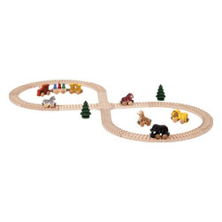 "Maple Landmark - Natural Wooden Safari Toy Train Set - This quality built wooden safari train set set is a great intermediate set, easy to add on more pieces later. This 27-piece set includes 17"" by 39"" figure-8 track, 8 cars and 2 trees. All pieces in this set are also available individually. Individual cars measure about 3"" long by 2"" high each and have a non-toxic finish. Straight track and crossover are grooved on one side and curved track is grooved on both sides. All track is sanded smooth with laser-engraved stripes, and is unfinished. All pieces are crafted from locally sourced, sustainably harvested hard maple and are compatible with our, Brio®, Thomas the Tank and other wooden train systems. Set includes:"