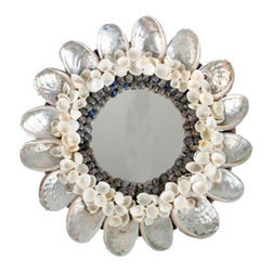 Abalone Shell Mirror - Oh so delicate, the shimmery Abalone Shell Mirror is beach-chic glamour.