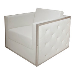 Boxer Armchair White Sofa - This sofa by Nuevo is part of their Boxer collection and comes in a white finish.