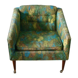 """Pre-owned Mid-Century Avant Designs Kroehler Chair - This chair has amazing lines and good bones. It's an original! Labeled and sold in it's original fun green floral fabric. We so badly would love to see her stay in her original dress, but the new owner can decide her next debut.    Marked Avant Designs, Kroehler. Classic, small scale and super comfortable. This chair has it's original cushion and tufted button back. Dowel legs with original brass finish casters. The fabric is worn and has some staining. Please note, there are worn edges and a section of the piping is missing and has some stains.    Seat height 15"""""""