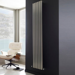 Hudson Reed - Savy Silver Vertical Designer Radiator Heater 63 x 14 inch & Valves - Six circular vertical tubes, finished in superior matt silver powder coat, make this radiator a striking design feature of any contemporary living space. The large diameter tubes deliver an amazing heat output of 1680 Watts (5734 BTUs).Stylish and effective, this modern classic connects directly into your domestic central heating system by means of the angled radiator valves included. Silver Vertical Tube Designer Radiator 63 x 14 Features  Dimensions (H x W x D): 63 x 14 x 3.25 Output: 1680 Watts (5734 BTUs) Maximum Projection from Wall: 5.25 Pipe centres with valves: 17.3  Number of columns: 6 Circular columns Fixing Pack Included (see image above)  Designed to be plumbed into your central heating system  Suitable for bathroom, cloakroom, kitchen etc.  Weight: 43.5 lbs (19.8kg) Please note: Angled radiator valves included  Please Note: Our radiators are designed for forced circulation closed loop systems only. They are not compatible with open loop, gravity hot water or steam systems.