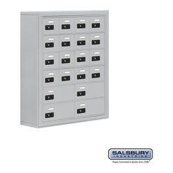 Salsbury Industries - Cell Phone Storage Locker - 6 Door High Unit - 16 A Doors and 4 B Doors - Cell Phone Storage Locker - 6 Door High Unit (8 Inch Deep Compartments) - 16 A Doors and 4 B Doors - Aluminum - Surface Mounted - Resettable Combination Locks