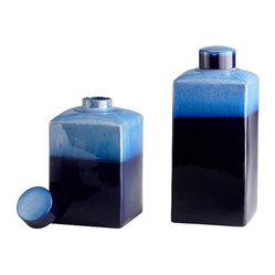 Cyan - Large Cobalt Drip Container - Does your room give you the decorating blues? Lighten the mood with bold color and a timeless finish in this ceramic piece. It's glazed in a mottled, two-tone finish of cobalt and deep indigo, topped with a removable lid.