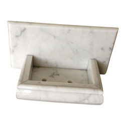 "Tiles R Us - Italian Bianco Carrara Marble Hand-Made Soap Holder - Soap Dish, Honed - Item: Premium Quality 9"" x 4 1/2"" genuine Italian Carrara White Marble Hand Made Honed Soap Holder / Soap Dish."