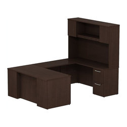 "Bush - Bush 300 Series 66"" U-Shape Desk with 2-Door Hutch in Mocha Cherry - Bush - Commercial Grade Office - 300S056MR - Keep everything in front of you with the BBF Mocha Cherry 300 Series 66""W x 30""D Executive U-Station Desk with 66""W Tall Storage. Its executive arrangement fits any office environment. Large U-shaped top surfaces offer a comfortable place to spread out and the return fits multiple office configurations. Two box drawers and one file drawer in the pedestal store files or office supplies. The Return features two file drawers on fully extendable drawer slides for easy access to back. All file drawers accommodate letter- legal or A4-size files. Tall Overhead Hutch helps keep desk areas clear and has an open center section for large books or oversize manuals. Height matches other 300 Series hutches for side-by-side configurations. Two enclosed compartments hold supplies, electronics or personal items."