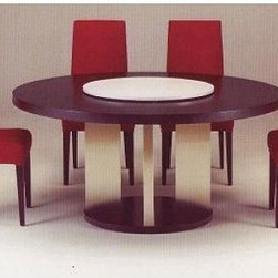 """Glass, Wood or Metal Dining Table - Toga Dining Table -- A casual dining table featuring a distinctive leg design. Pictured as 54"""" Round in Dark Mahogany (Finish 1) and Stainless Steel (Finish 2). Pictured with stainless steel lazy susan (included). Custom sizing available."""