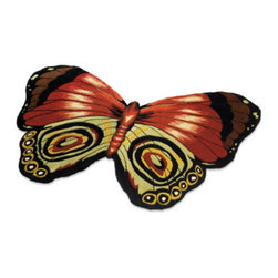 Grandin Road - Papillion Indoor Area Rug - 100% wool. Latex/canvas backing. Hand-tufted. Our Papillion Rug marries lush softness with quality and durability. The free-form design is finished with hand-carved details that create the dimension of butterfly wings.  .  .  . Imported.