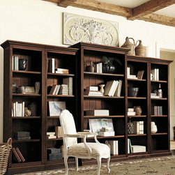 Ballard Designs - Tuscan Bookcase Set - 5 Piece - Left Bookcase (1 piece). Right Bookcase (1 piece). 2 Flush Bookcases (2 pieces). Large Center Bookcase (1 piece). Crafted of wood & wood veneers, our Tuscan Bookcase offers the look of a custom built-in at a fraction of the cost. Reeded detail and heavy crown molding add to the rich antique feel. Each Bookcase features one fixed shelf, three adjustable shelves and adjustable levelers. Set includes:. . . .