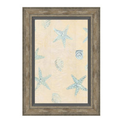 Sea Stars and Shells Framed Giclee - Recall a holiday along the shore, when sea stars passed among the swells and the twinkle of laughter passed the time. Pale blue stars and shells, evincing charm in whimsical detail, present a soft contrast to a quiet backdrop of creamy peach. This simple yet enchanting artwork lends a breezy aesthetic to your summerhouse, bayside bungalow, or seaside-inspired great room.