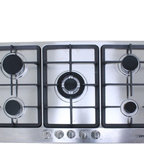 """WindMax - 34"""" Electric Stainless Steel Built-in Kitchen Gas Cooktop NG/LPG With 5 Burner - Gas Type: Compatible with LPG and NG (adapters and pipes are NOT included), Default LPG gas, If you want to connect with NG gas, please remove the LPG gas kit."""