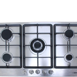 "WindMax - 34"" Electric Stainless Steel Built-in Kitchen Gas Cooktop NG/LPG With 5 Burner - Gas Type: Compatible with LPG and NG (adapters and pipes are NOT included), Default LPG gas, If you want to connect with NG gas, please remove the LPG gas kit."