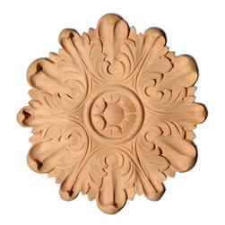 """Inviting Home - Atlanta Medium Wood Rosette - Maple - wood rosette in hard maple 5""""H x 5""""W x 1/2""""D Wood rosettes are hand carved in deep relief design from premium selected North American hardwoods such as alder beech cherry hard maple red oak and white oak. They are triple sanded and ready to accept stain or paint. Hardwood rosettes are perfect for wall applications finishing touches on the custom cabinets or creating a dramatic focal point on the fireplace mantel."""