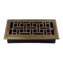 Richelieu Hardware - Richelieu Arts/Crafts Brass Floor Register 285mmx109mm  English - Richelieu Arts/Crafts Brass Floor Register 285mmx109mm  English