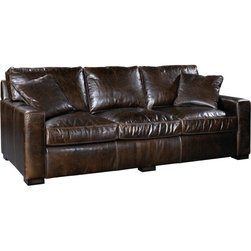 Velvet & Clover - Velvet & Clover Beau Sofa - Classic elegance meets modern masculinity in Velvet & Clover's Beau Sofa. This generously proportioned sofa is perfect for transitional spaces and Pacific Northwest homes. Its hefty size and tailored look feel sophisticated and sturdy, while its espresso-brown leather has some contemporary edge. Use it to complete your living room in manly fashion, or pair it with red throw pillows for some striking color contrast. Either way, you'll be seated in pure style!Leather-upholstered sofaComes with two matching pillowsMade in China