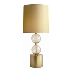 Arteriors - Miramar Lamp - Smoky gold glass spheres, look like bubbles stacked on top of a tall antique brass cylinder base. The tall drum shade is made of a gold shimmer fabric. Takes one 150 watt 3-way bulb.