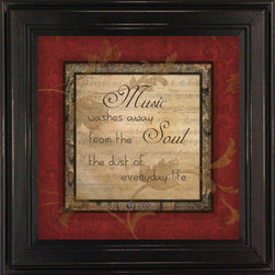 MyBarnwoodFrames - Music Washes Away From Soul The Dust Of Everyday Life Framed Quote - Music  washes  away  from  the  soul  the  dust  of  everyday  life          A  true  maxim,  and  a  great  reminder  for  any  home  that  values  the  power  of  good  music.  This  framed  quote  makes  a  great  gift  for  the  music  teacher  or  musician  in  your  life.  Or,  hang  it  in  your  own  home.                             11x5  x  11x5  inches                  Print  features  red  hues  and  measures  8x8  inches                  Black  wood  frame  with  light  sanding  for  added  texture                  Made  in  USA                  Hardware  and  glass  included                    View  our  collection  of  framed  quotes  by  clicking  here