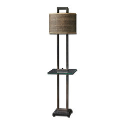 Uttermost - Uttermost 28718-1  Stabina End Table Floor Lamp - Rustic bronze metal with burnished edges, black marble foot and a tempered, rectangle glass tray. the oval drum shade is brown and tan woven rattan with decorative trim.