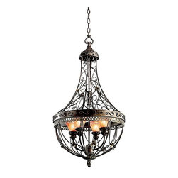 KICHLER - KICHLER 42230TRZ Marchesa European Traditional Foyer Light - The Marchesa(TM) Collection features European inspired silhouettes cast in a soft Terrene Bronze finish. The ornamental basket design is intricately detailed with swirling textures and botanical accents. Make a dramatic statement with this 4 light foyer piece with Piastra glass.