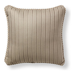 Frontgate - Cayden Stripe Beige Outdoor Pillow - Beautiful accent pillow can be used both indoor and outdoor. 100% Sunbrella solution-dyed acrylic woven fabric. High-density polyester fill. Zipper closure. Spot clean with mild natural soap and water; air-dry only. Accent your outdoor living space with our plush Sunbrella Cayden Stripe Rouge Outdoor Pillow inspired by coastal living. The Sunbrella solution-dyed fabric is woven, not printed, to retain its luster and pattern season after season.  .  .  .  .  . Trimmed with coordinating cord . Made in the USA.