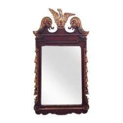Vintage Mid-Century Gilt Federal Mirror by Turner - This is a large vintage federal style mirror made by Turner in the United States in the 1960s. It's perfect for an entryway, bedroom or even a special bathroom. The gilt and wood look frame is made in a mahogany toned finish and the tasseled edges and eagle are accented in gold paint. The gold dipped eagle crest crown is intricately detailed which is evidence of skilled craftsmanship. Both sides of the mirror are embellished with delicately carved tassels, and it appears that the frame is made out of a pressed wood or fiber material.  This piece is an homage to America's rich furniture making history and patriotic spirit. Underneath the crest on the front has two minor spots of chipped finish, as detailed in the photos.   This piece still has the original manufacturer's tags and instructions on the back, adding to it's charm.