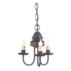 Irvin's Tinware - Bellview Wooden Chandelier in Americana Colors, Black Over Red - The warm and welcoming glow created by our Bellview Chandelier will add a country elegance to your home. The Bellview is destined to become a homespun treasure.