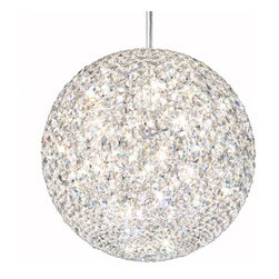Schonbek - Da Vinci Stainless Steel 18-Light Crystal Swarovski Elements Pendant Light, 18W - -Swarovski Elements: Swarovski Elements is the premium brand for finest crystal elements manufactured by Swarovski. Available in a myriad of colors, effects, shapes and sizes, these elements provide a fabulous palette of inspiration for designers in the lighting industry and interior design, as well as in the worlds of fashion, jewelry and accessories. Swarovski Elements have been designers? choice since 1895.  - From the Vitruvian Man to the Mona Lisa, Leonardo da Vinci called on advanced mathematics to create masterful works of art. This same principle is at the core of Da Vinci a magnificent sphere of light formed by hundreds of crystal octagons coming together in geometric harmony. Da Vinci, in all of its stunning simplicity, is available in Swarovski Elements or Spectra Crystal.  -Crystal Swarovski Elements  - Wire Length (in inches): 144  - Light Source: Halogen  - Bulbs not included  - Chain Length (in inches): 144  - Uses standard line volt dimmer  - Some assembly required  - Lead free crystal  - For shipping outside of USA, please contact Bellacor customer service  - Cleaning and Care Instructions: Every Schonbek product is of heirloom quality and will last for generations. To ensure it retains its brilliance and splendor for years to come, proper care and regular cleaning are necessary. It is recommended that Schonbek products, and particularly their crystal trim, be lightly dusted with a feather or lambswool duster, or soft brush every two months, or whenever it appears dull or dusty. Consult the fixtures trim diagram for detailed cleaning instructions list of approved cleaning solutions. Schonbeck fixtures should never be subjected to any chemical cleaning agents. - See packaging insert for warranty information. Schonbek  - DV1818S